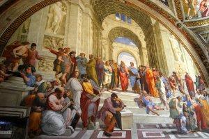 Imagen de sabios en la academia griega antigua